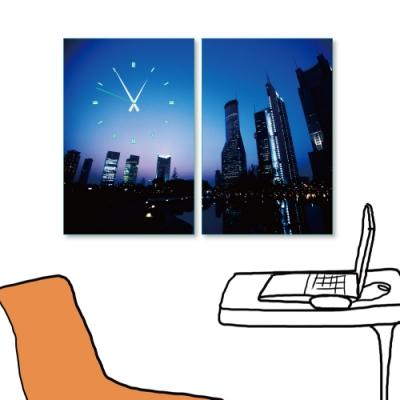 24mama掛畫二聯式 時鐘掛畫無框畫 40x60cm-城市夜景