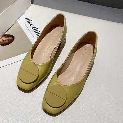 KEITH-WILL時尚鞋館 歡樂單品閃耀夏日方頭粗跟鞋-綠