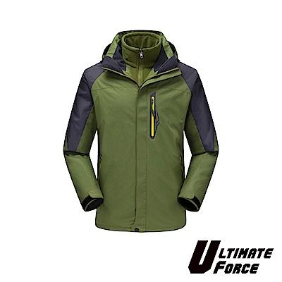 Ultimate Force「衝鋒」男款兩件式防風雪外套-軍綠色