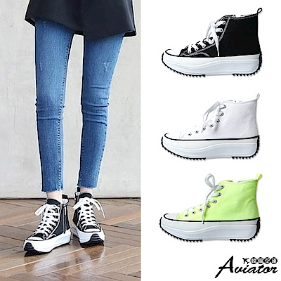 Aviator韓國空運-小隻女厚底鋸齒高筒帆布鞋-預購