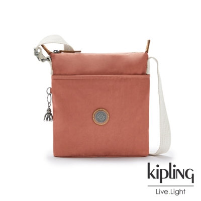 Kipling 柔霧甜美粉橘簡約斜背方包-KALAO