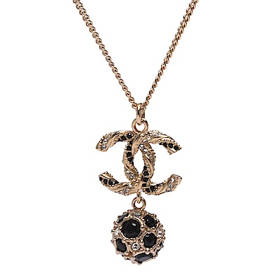 CHANEL 經典CC LOGO羅紋水鑽鑲飾造型項鍊(金X黑)