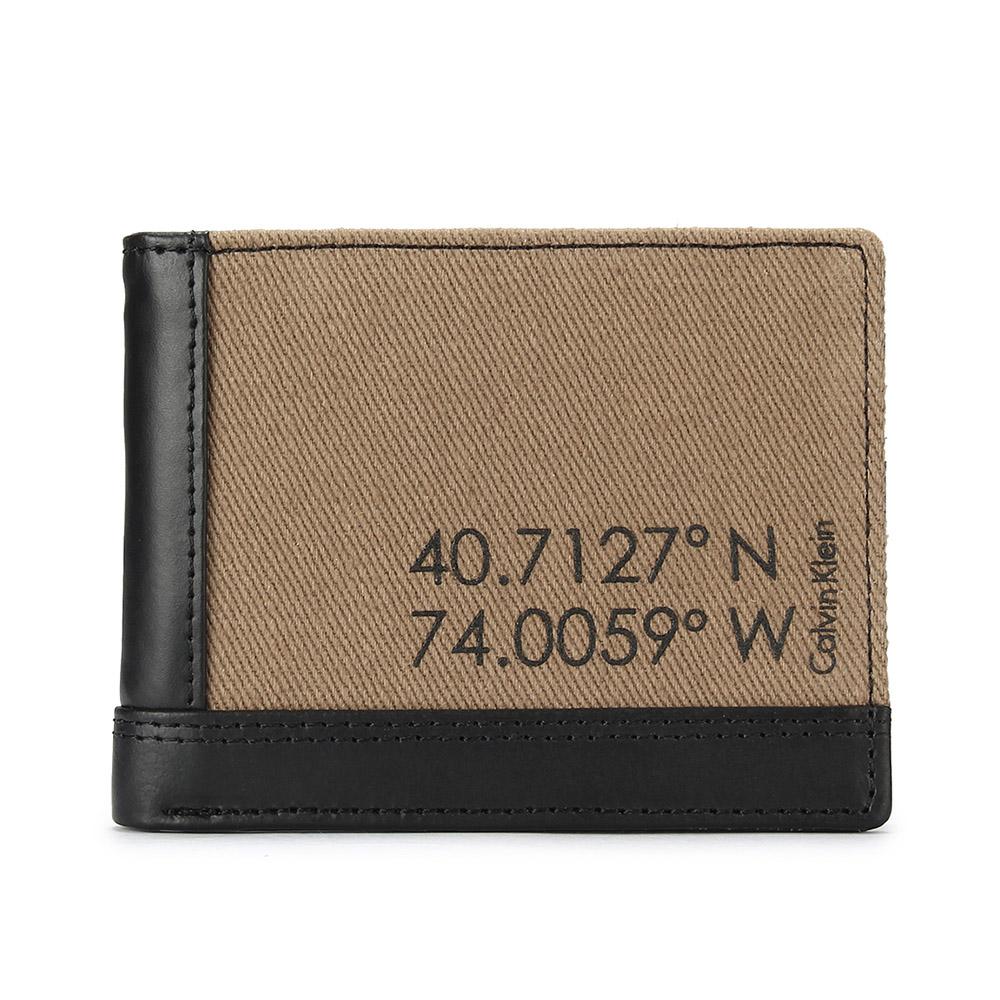 Calvin Klein 經典紐約市政座標單寧多卡短夾 -咖啡/黑