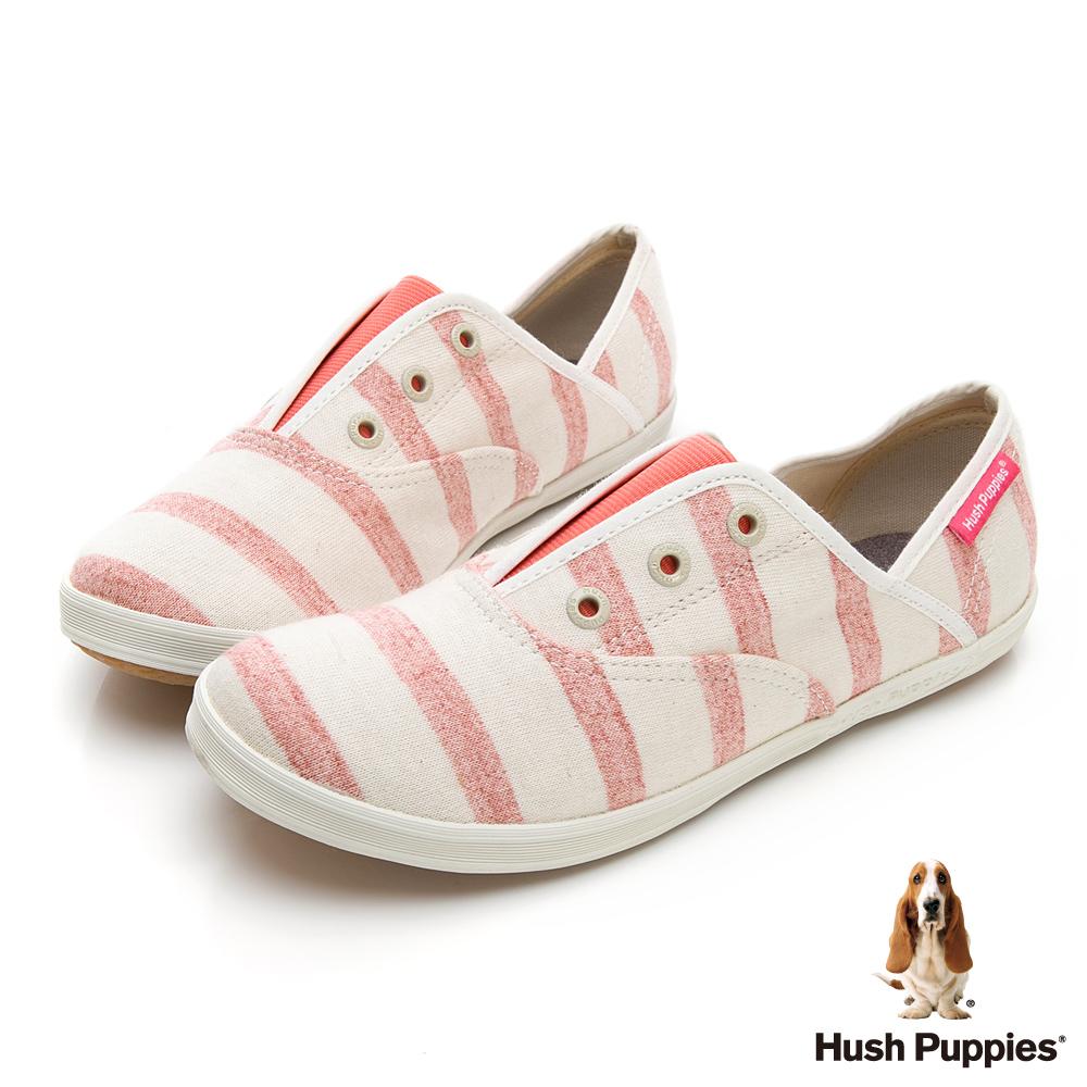 Hush Puppies 清爽條紋咖啡紗懶人帆布鞋-粉色