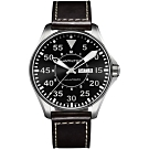 Hamilton 漢米爾頓 卡其飛行員機械錶-黑x咖啡/46mm