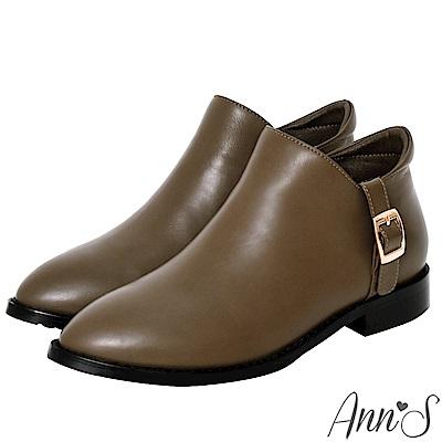 Ann'S低調日常-立體縫線顯瘦V型平底短靴-咖