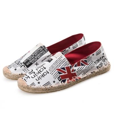 韓國KW美鞋館 (現貨+預購) 塗鴨十字風格歐美外銷草編休閒帆布鞋-白