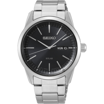 SEIKO精工 CS 太陽能SOLAR 手錶(SNE527P1)-黑x銀/40mm