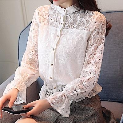 透視拼接荷葉蕾絲下襬喇叭袖上衣S-2XL(共二色)-白色戀人