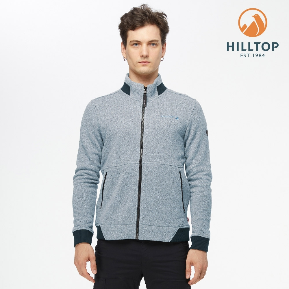 【hilltop山頂鳥】男款POLYGIENE抗菌立領保暖刷毛夾克H24MK2淺藍麻花