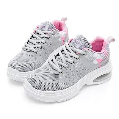 PLAYBOY 彩織氣墊輕量運動鞋-灰粉-Y528329