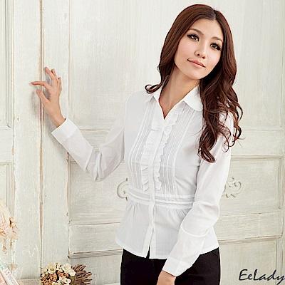 EELADY-腰身設計線條荷葉長袖襯衫(白色)
