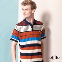 oillio歐洲貴族 短袖質感柔順天絲棉POLO線衫 舒適透氣紳士休閒 紅色