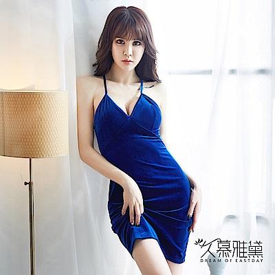 性感睡衣 金絲絨蕾絲美背優雅吊帶裙。寶藍 久慕雅黛