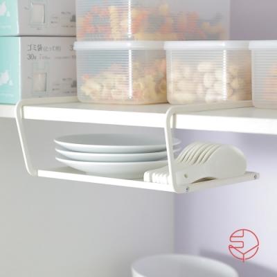 日本霜山 兩用廚櫃下/桌面分層置物金屬收納架-白