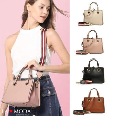 La Moda 時尚感爆棚可換肩帶大容量肩背手提托特包(共4色)
