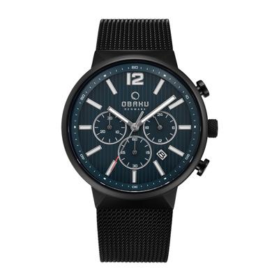 OBAKU 暴風元素三眼腕錶腕錶-黑-V180GCBLMB-42mm