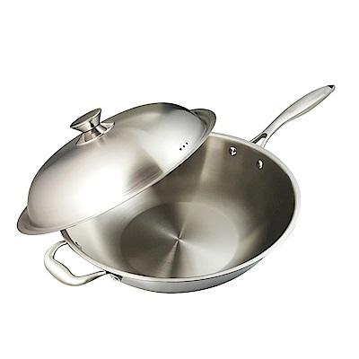 清水 316不鏽鋼複合金炒鍋/平底炒鍋不鏽鋼把手36cm