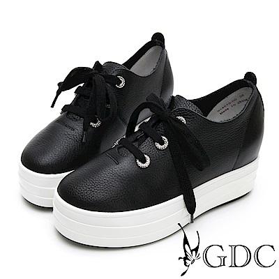 GDC-真皮質感簡約增高心機水鑽綁帶蝴蝶結休閒鞋-黑色