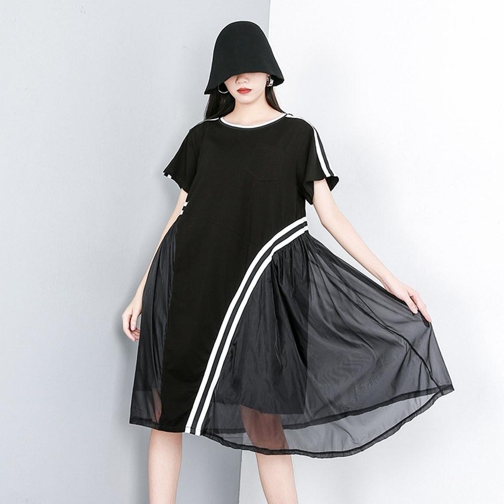 拼接雪紡個性短袖不規則連衣裙-F-CLORI