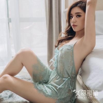 性感睡衣 水溶花鏤空蕾絲開叉吊帶睡裙。綠色 久慕雅黛