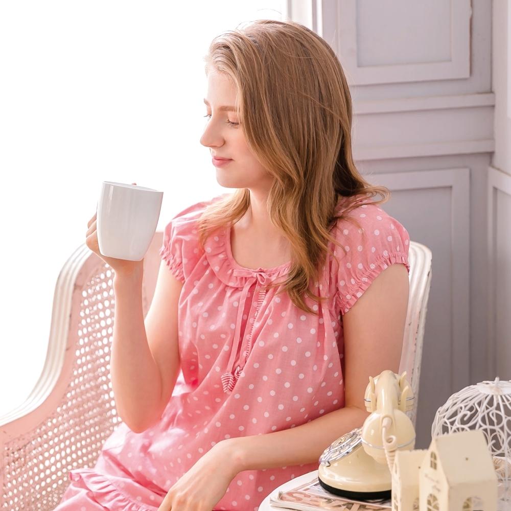 RoseMaid 羅絲美 - 甜蜜的愛小包袖褲裝睡衣(甜心紅) (點點紅)