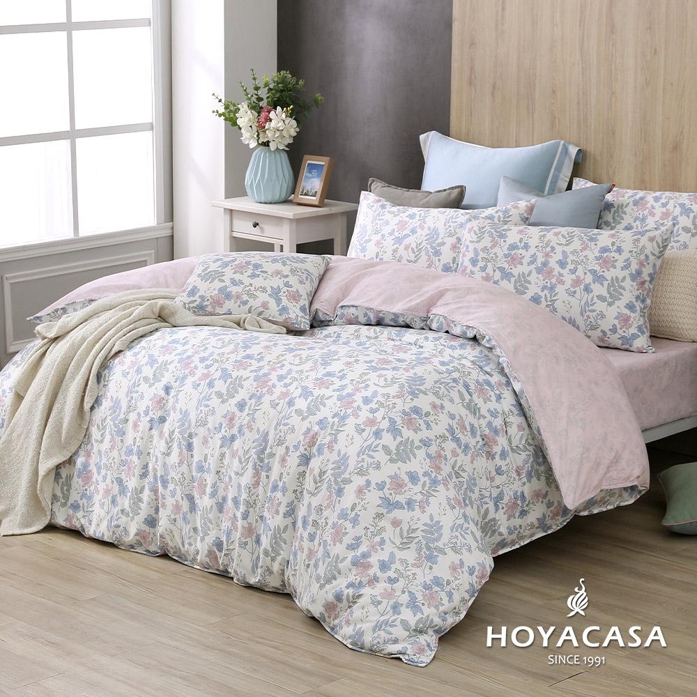 【HOYACASA】100%精梳棉加大兩用被床四件式包組-千花物語(天絲入棉30%)