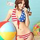 泳衣 美式國旗 二件式比基尼針織泳裝(藍紅F)  AngelHoney天使霓裳 product thumbnail 1