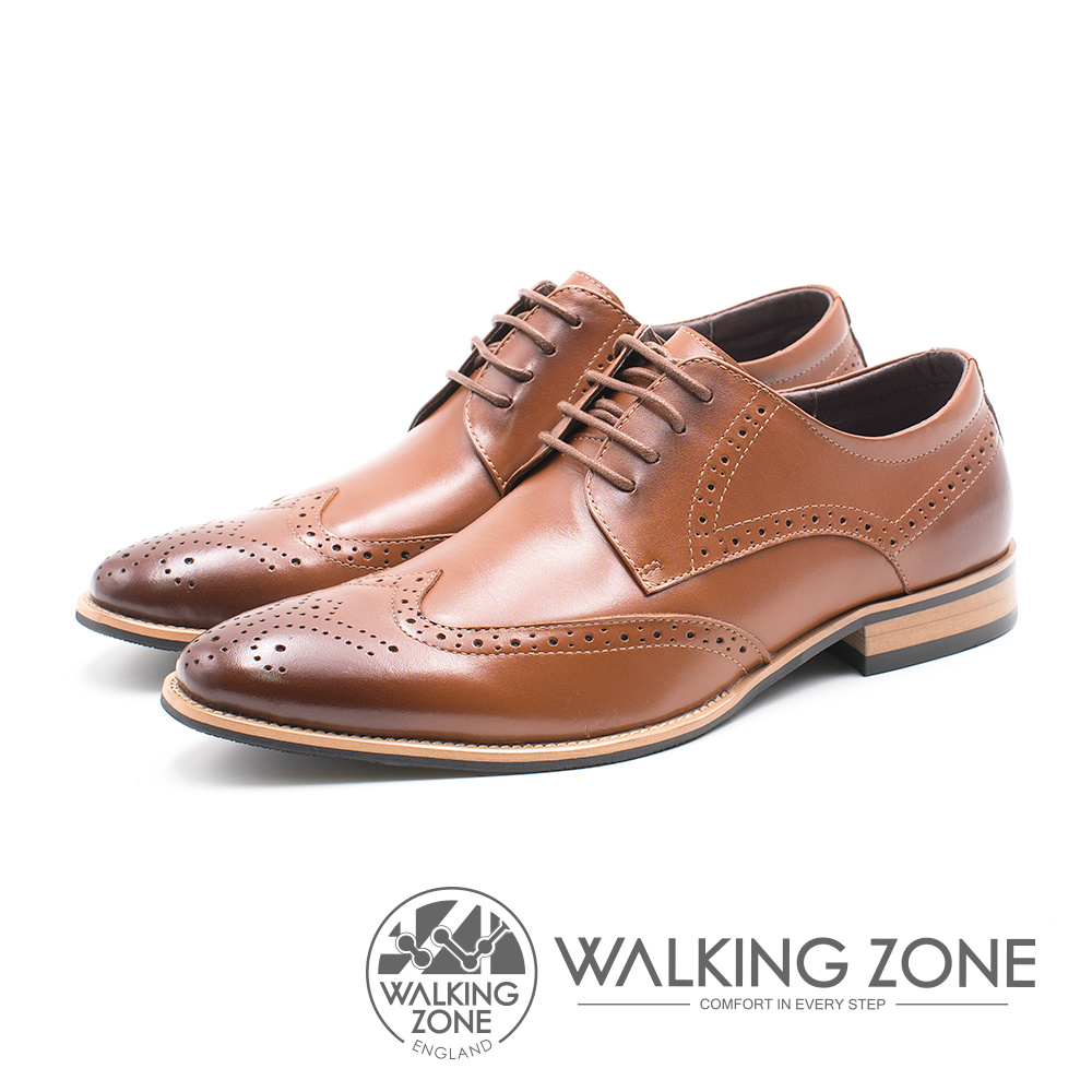 WALKING ZONE 雕花壓紋尖頭綁帶車縫男皮鞋-棕(另有黑)