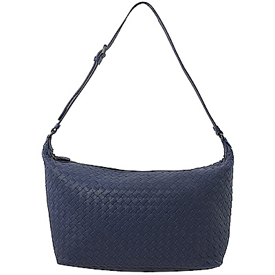 BOTTEGA VENETA經典編織拉鍊大肩包(紫藍)