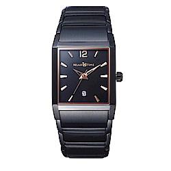 RELAX TIME 簡約方型時尚手錶-鍍黑/30mm