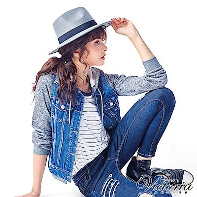 Victoria 異材質拼接牛仔外套-女-中藍