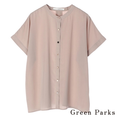 Green Parks 特色鈕扣五分袖圓領襯衫上衣