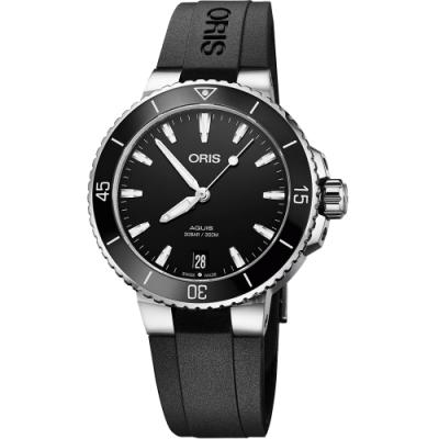 Oris豪利時 Aquis 時間之海潛水300米機械女錶-黑/36.5mm