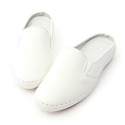 D+AF 舒適有型.超軟縫線底休閒穆勒鞋*白