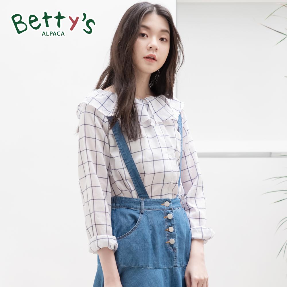 betty's貝蒂思 彈性荷葉領口格紋棉麻上衣(白色)
