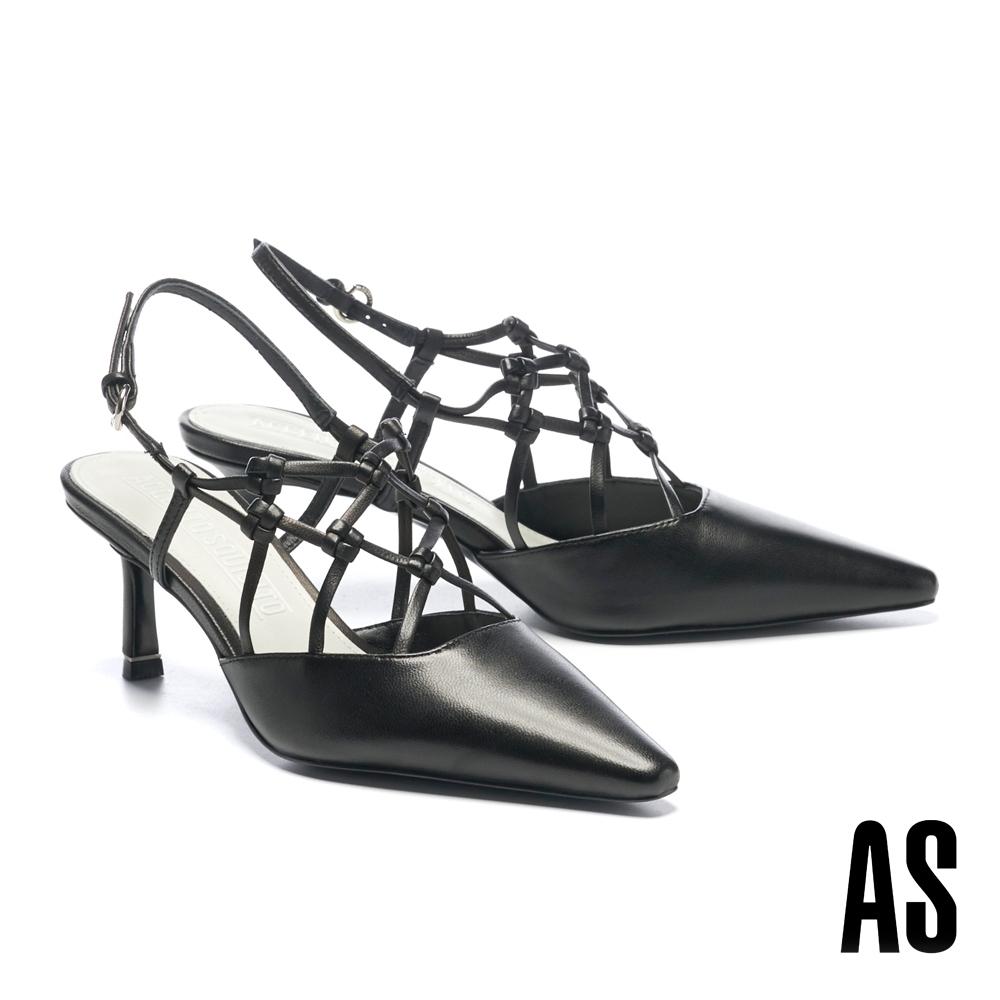 高跟鞋 AS 細緻工藝編織風情全真皮後繫帶尖頭高跟鞋-黑