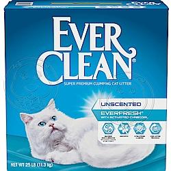 美國EverClean《藍鑽系列》活性碳除臭貓砂(白標)-25磅