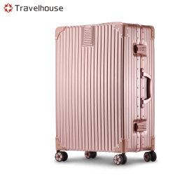 Travelhouse 旅遊邊界 20吋鋁框行李箱(玫瑰金)