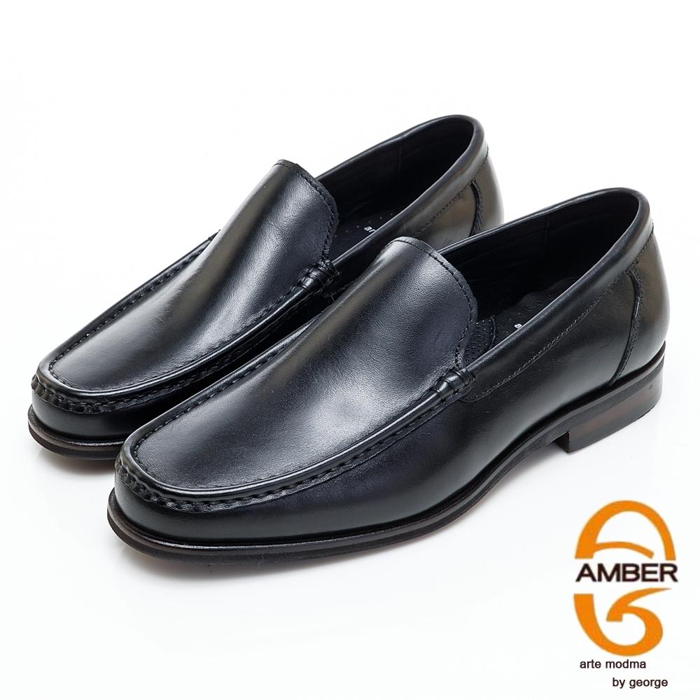 AMBER經典系列素面漸層皮革直套式紳士鞋方頭鞋-黑色