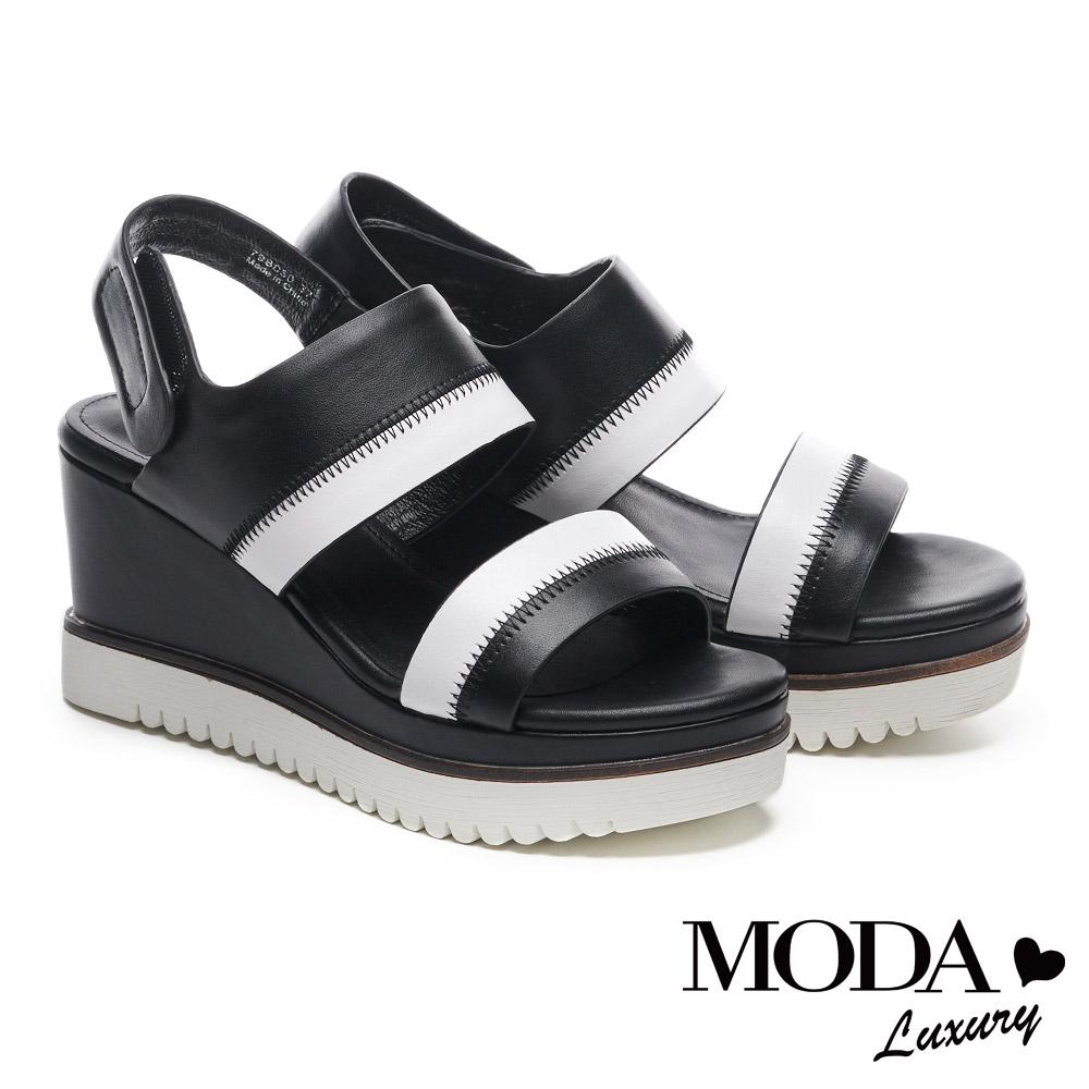 涼鞋 MODA Luxury 俐落個性一字帶色調拼接牛皮楔型高跟涼鞋-黑