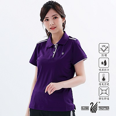 【遊遍天下】MIT女款吸濕排汗抗UV機能POLO衫S10033暗紫
