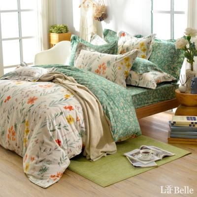 義大利La Belle 綠野青青 加大純棉防蹣抗菌吸濕排汗兩用被床包組