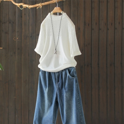 純棉鏤空蕾絲半高領針織衫寬鬆韓版短袖T恤-設計所在