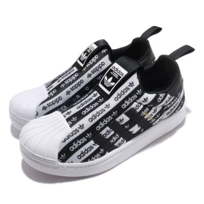 adidas 休閒鞋 Superstar 360 C 襪套式 童鞋 愛迪達 三葉草 貝殼頭 滿版logo 中童 黑 白 EF6644
