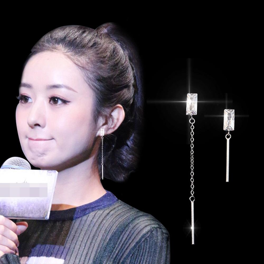 梨花HaNA 韓國925銀方鑽極簡不對稱垂綴耳線耳環