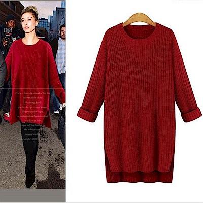La Belleza長版素色圓領側開叉前短後長針織毛衣