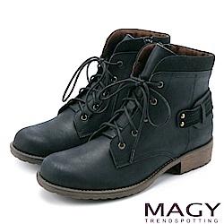 MAGY 街頭率性簡約 嚴選牛皮帥氣綁帶短靴-黑色