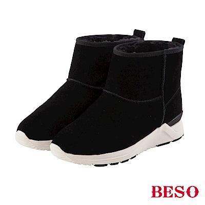 BESO 潮人街頭風 真牛麂皮暖呼呼運動雪靴~黑