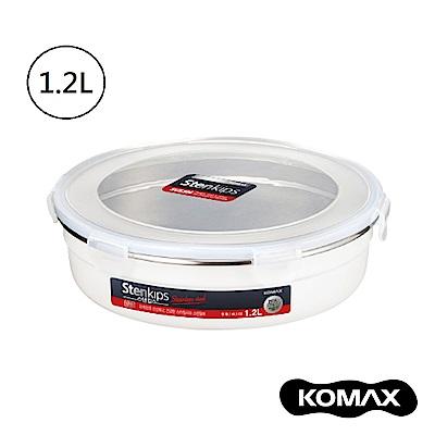 韓國KOMAX Stenkips不鏽鋼圓型保鮮盒1200ml(白色)
